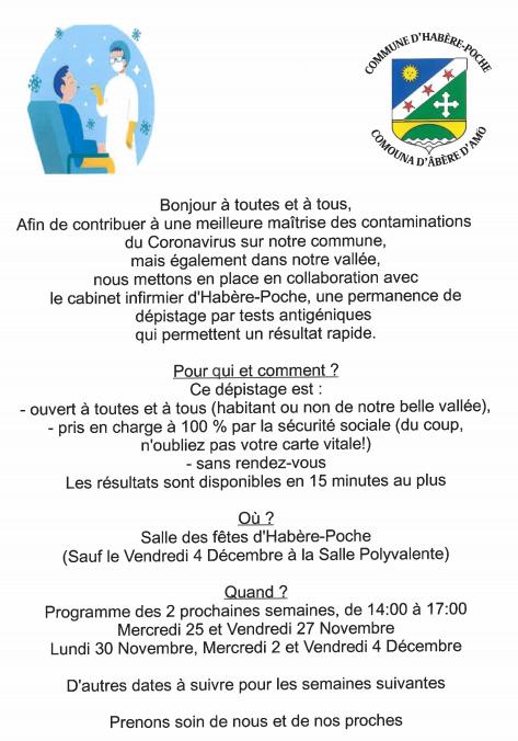 Actualité COVID-19 - Dépistage