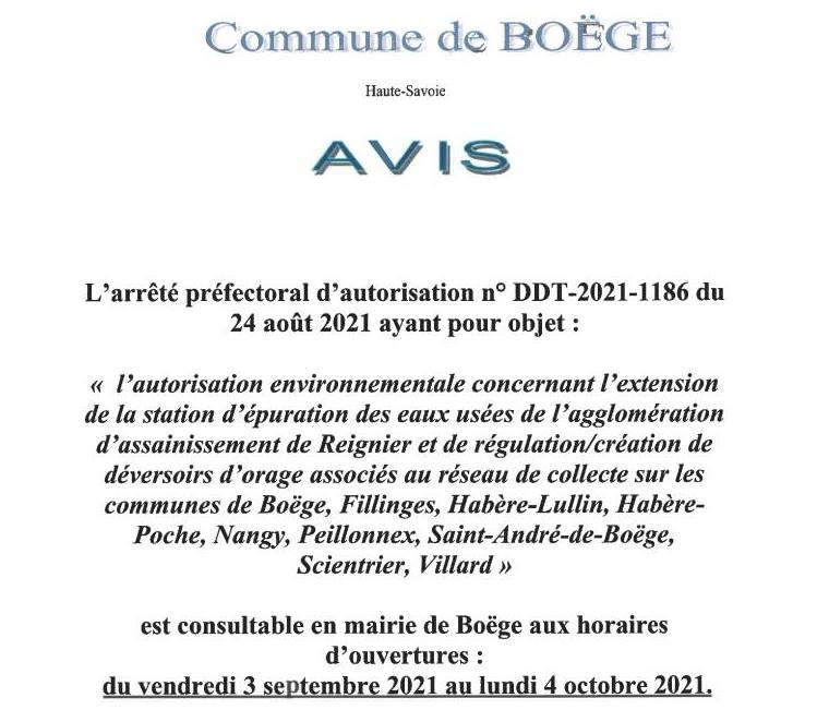 Arrêté DDT-2021-1186 ayant pour objet l'extension de la station  d'épuration